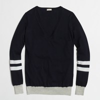 Factory V-neck sweater in varsity stripe