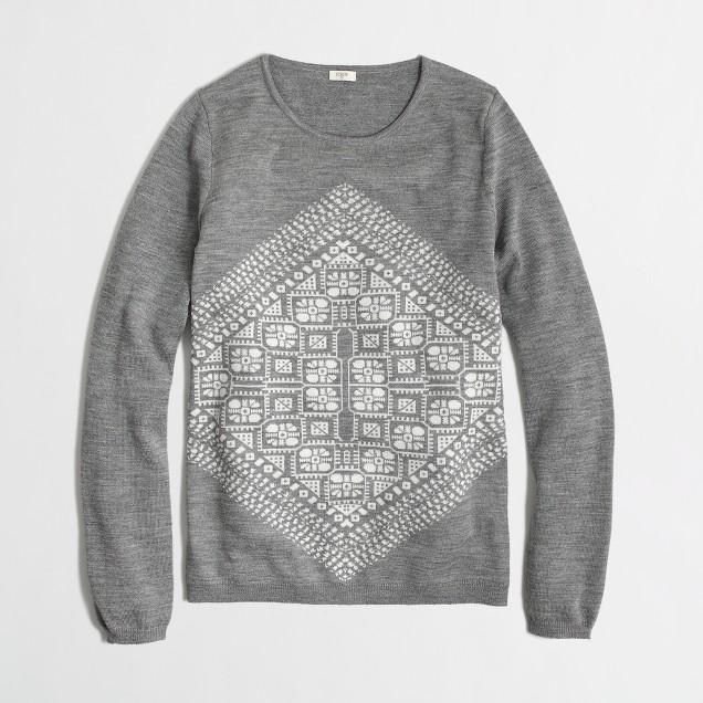 Factory geometric graphic merino sweater