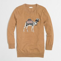 Factory tassel-embroidered intarsia camel sweater