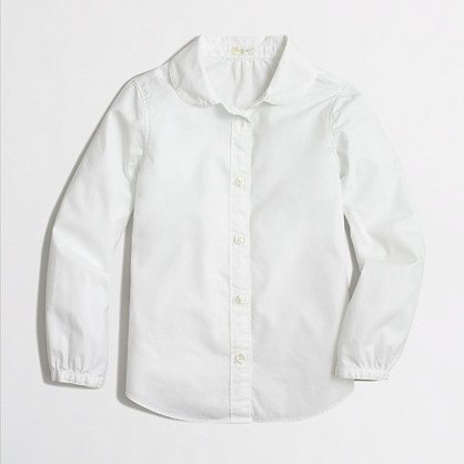 Factory girls' Peter Pan collar shirt in oxford