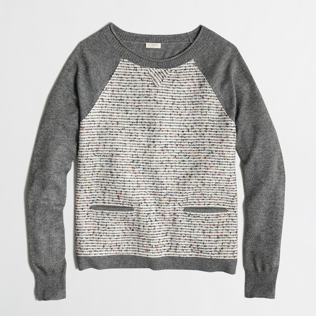 Factory tweed-front baseball sweater