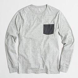 Slim long-sleeve contrast-pocket T-shirt