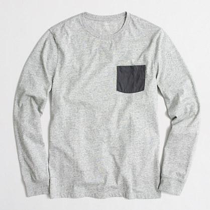 Tall slim long-sleeve contrast-pocket T-shirt