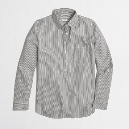 Stripe poplin popover shirt