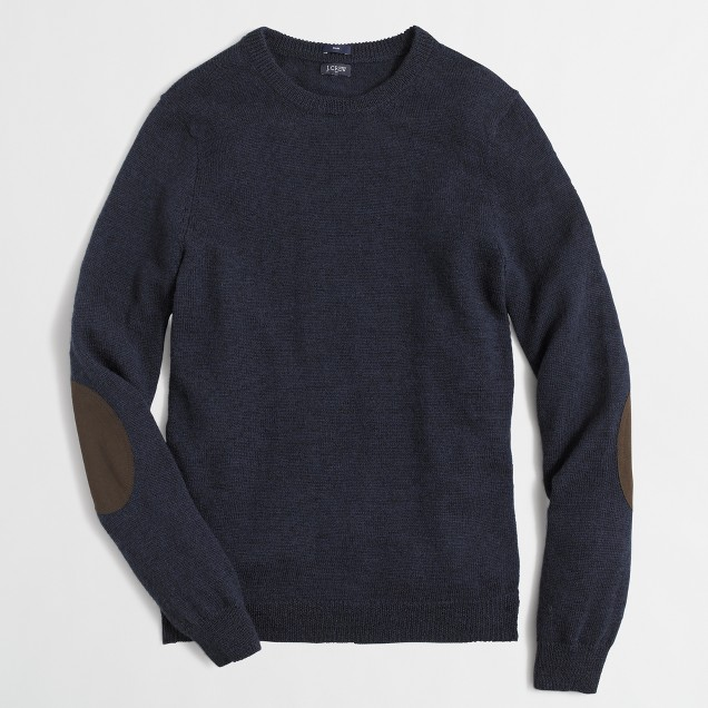 Tall slim merino elbow-patch sweater