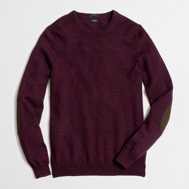 Slim merino elbow-patch sweater