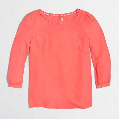 Factory scalloped-collar top
