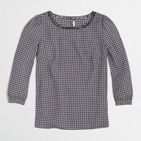 Factory scalloped-collar top in geometric dot