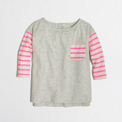 Factory girls' three-quarter sleeve contrast stripe tee