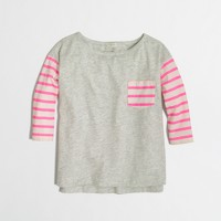 Factory girls' three-quarter sleeve contrast stripe tee