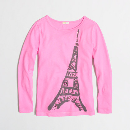 Factory girls' long-sleeve jeweled Eiffel Tower keepsake tee