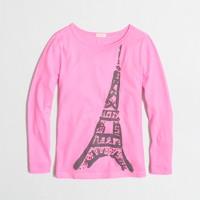 Factory girls' long-sleeve jeweled Eiffel Tower keepsake tee