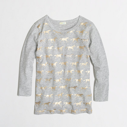 Factory girls' long-sleeve metallic pony keepsake tee