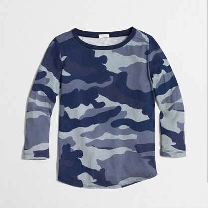 Factory girls' long-sleeve camo keepsake tee