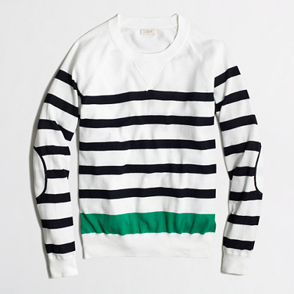 Factory cotton sweater with elbow patches