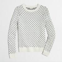 Factory warmspun Fair Isle sweater in chevron dot