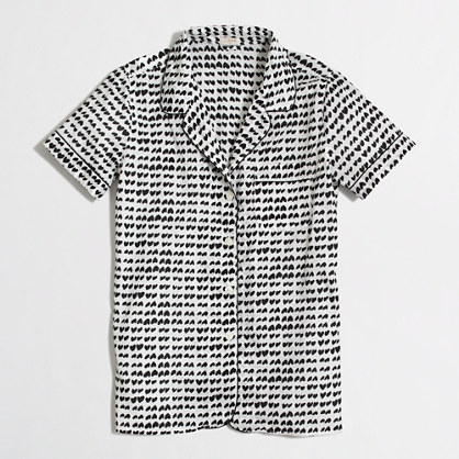 Factory short-sleeve pajama shirt in hearts