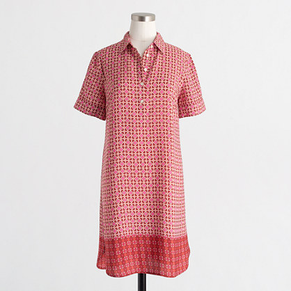 Short-sleeve printed shirtdress