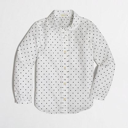 Factory girls' Peter Pan collar shirt in polka dots