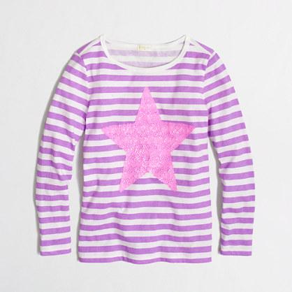 Factory girls' long-sleeve stripe sequin star keepsake tee