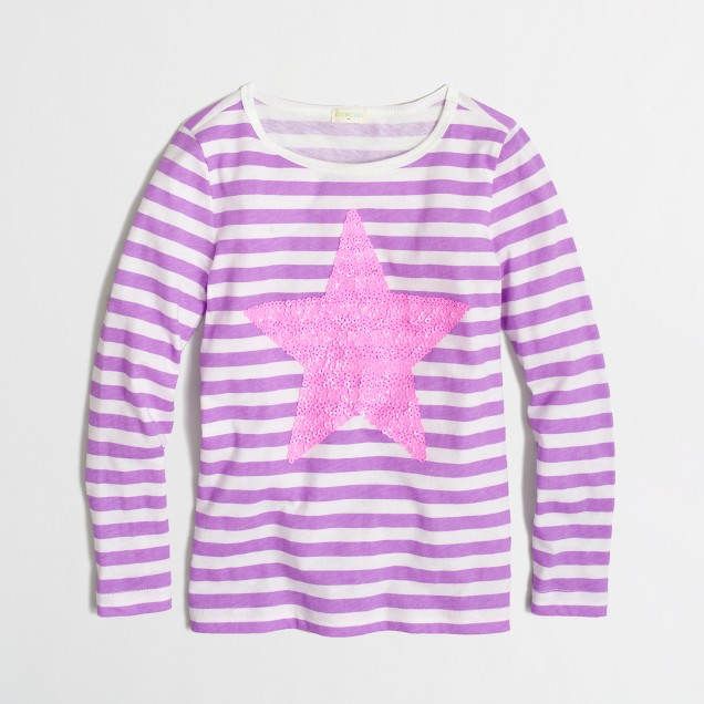Factory girls' long-sleeve stripe sequin star keepsake tee