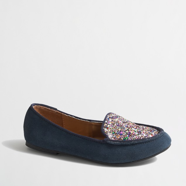 Factory girls' suede and glitter loafers