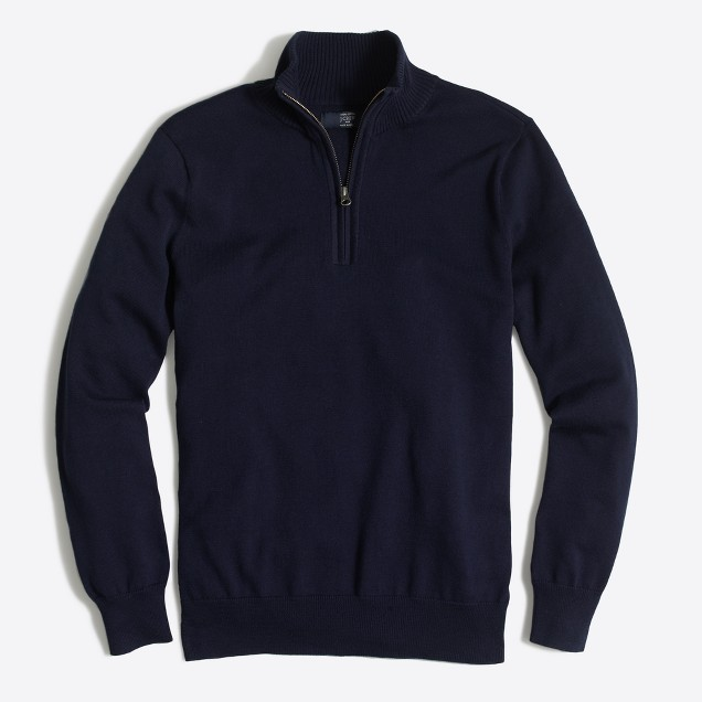 Slim cotton half-zip sweater