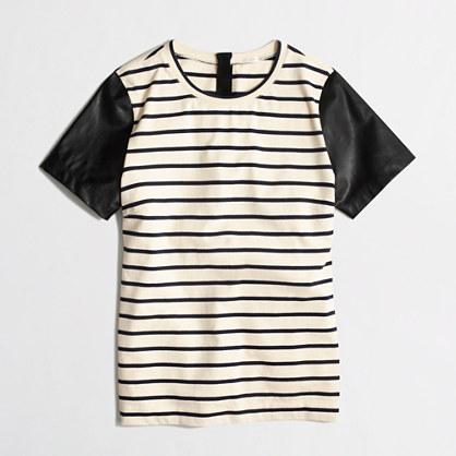 Factory leather-sleeve stripe tee