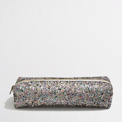 Factory girls' glitter pencil case