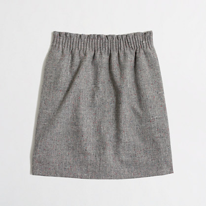 Pleated mini skirt in flecked wool