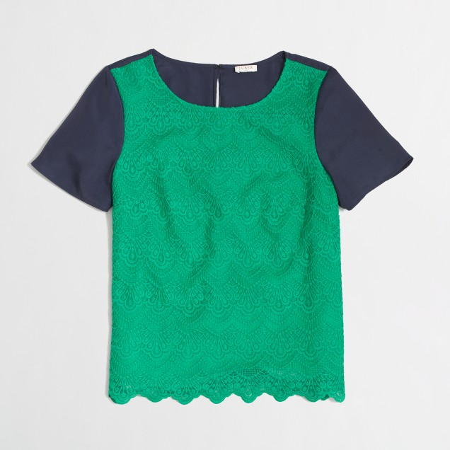 Factory lace-panel tee