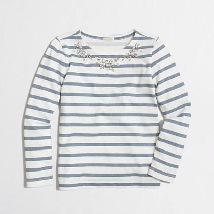 Factory girls' long-sleeve necklace stripe tee