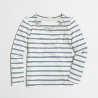 Factory girls' long-sleeve necklace stripe tee