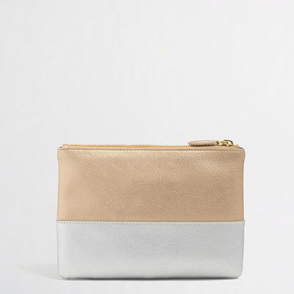 Factory colorblock leather pouch