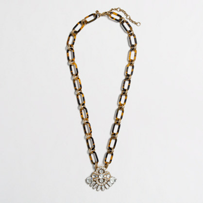 Factory crystal chain-link pendant necklace