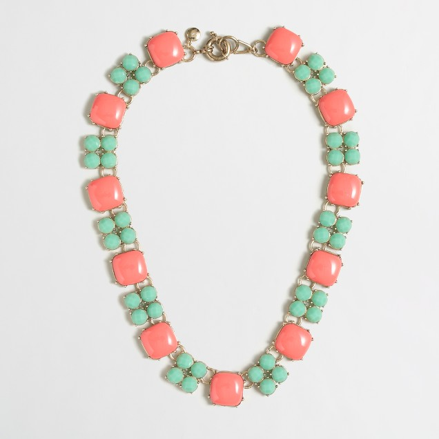 Factory stone square necklace