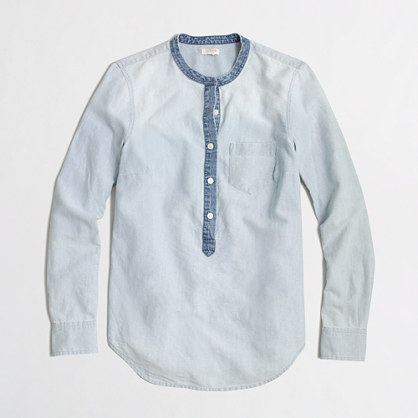 Contrast oxford popover shirt