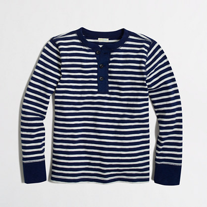 Boys' long-sleeve striped henley