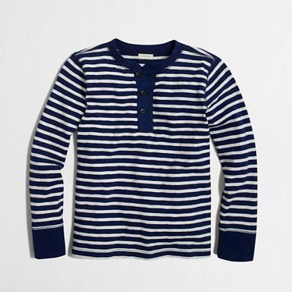 Boys' long-sleeve striped henley