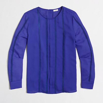 Factory lace-stripe blouse
