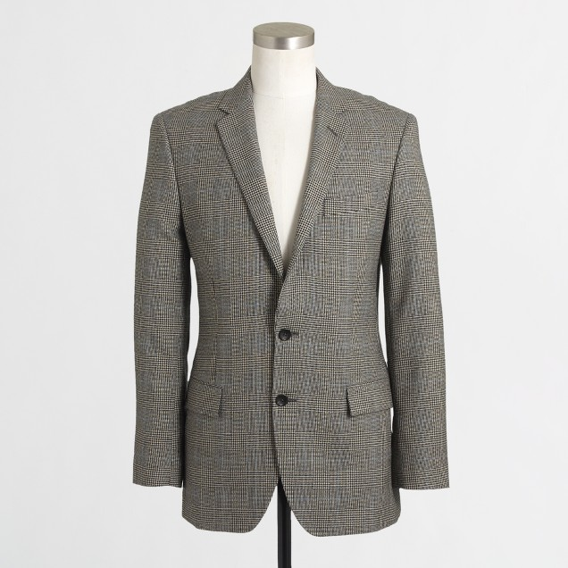 Factory Thompson suit jacket with double vent in Prince of Wales