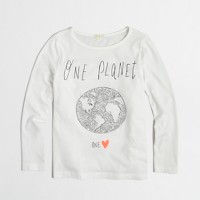 Factory girls' long-sleeve sequin one world keepsake tee