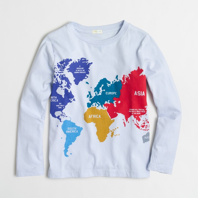 Boys' long-sleeve world map storybook T-shirt