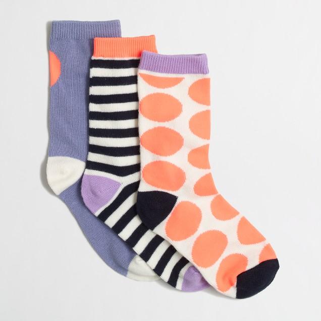 Factory girls' heart socks three-pack