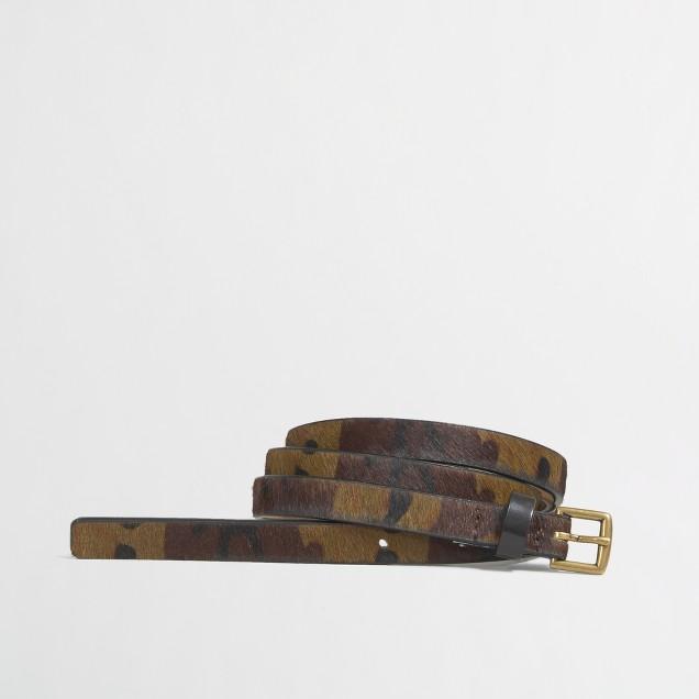Factory skinny camo calf hair belt