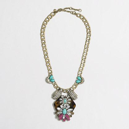 Factory tortoise floral pendant necklace