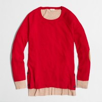 Factory side-button elbow-patch sweater in colorblock