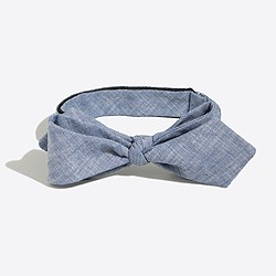 Factory faded chambray bow tie
