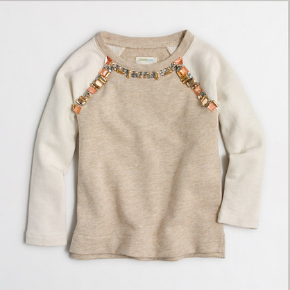 Girls' jeweled raglan sweatshirt