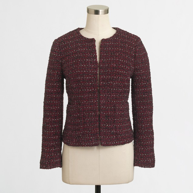 Factory cropped tweed blazer